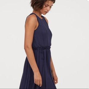 H&M Pleated Top Maxi Dress in Navy